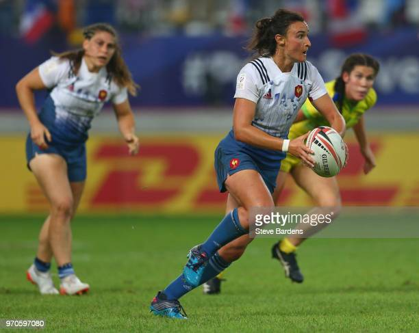 Shannon Izar of France in action during the Women's Cup semi final between Australia and France during the HSBC Paris Sevens at Stade Jean Bouin on...