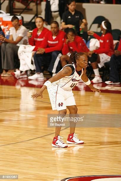 Shannon Johnson of the Houston Comets defends against the Indiana Fever during the game at Reliant Arena on June 28, 2008 in Houston, Texas. The...