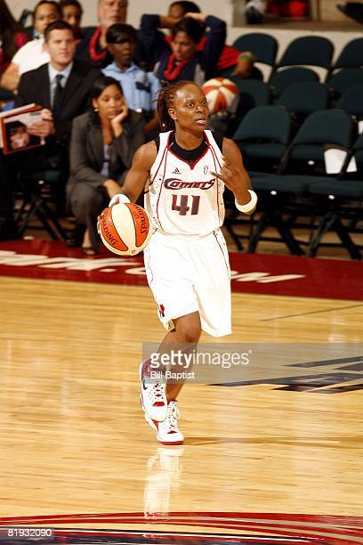 Shannon Johnson of the Houston Comets moves the ball against the Indiana Fever during the game at Reliant Arena on June 28, 2008 in Houston, Texas....