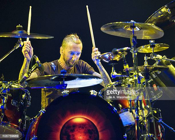 Shannon Larkin of the band Godsmack performs at the Rosemont Theatre on October 15, 2010 in Chicago, Illinois.