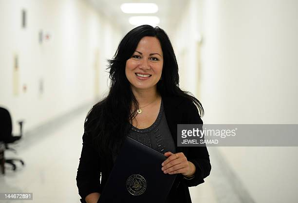 Shannon Lee daughter of late Bruce Lee and president of the Bruce Lee Foundation poses at the Rayburn House Office Building on Capitol Hill in...