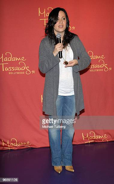 Shannon Lee daughter of the late martial arts actor Bruce Lee speaks before the unveiling of a new lifelike wax statue of her father at Madame...