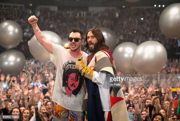 Shannon Leto and Jared Leto of 30 Seconds to Mars perform at the O2 Arena on March 27 2018 in London United Kingdom