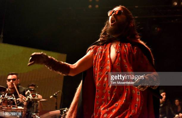 Jared Leto of Thirty Seconds to Mars performs in support of the band's 'America' release at Shoreline Amphitheatre on July 18 2018 in Mountain View...