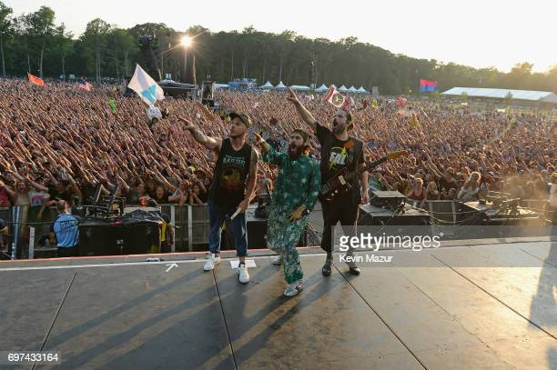 LR Shannon Leto Jared Leto and Tomo Milicevic of Thirty Seconds to Mars perform onstage during the 2017 Firefly Music Festival on June 18 2017 in...