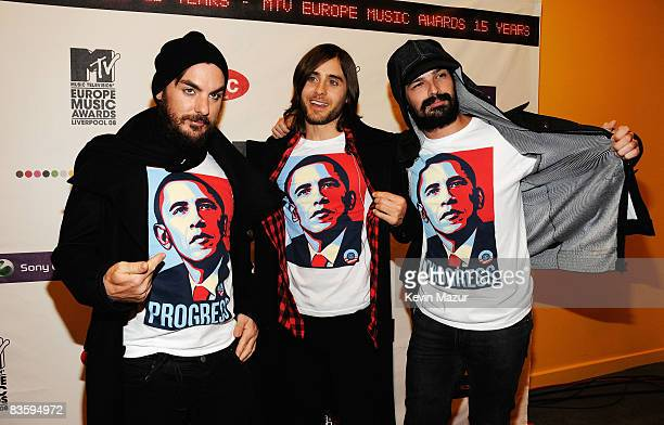 Shannon Leto Jared Leto and Tomo Milisevic of 30 Seconds To Mars pose in Barack Obama tshirts as they arrive for the 2008 MTV Europe Music Awards...