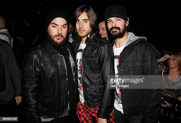 Shannon Leto Jared Leto and Tomo Milisevic of 30 Seconds To Mars attend the MTV Europe Music Awards held at the Echo Arena on November 6 2008 in...