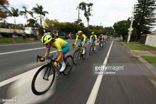 Shannon Malseed of Australia competes during the Women's Road Race on day 10 of the Gold Coast 2018 Commonwealth Games at Currumbin Beachfront on...
