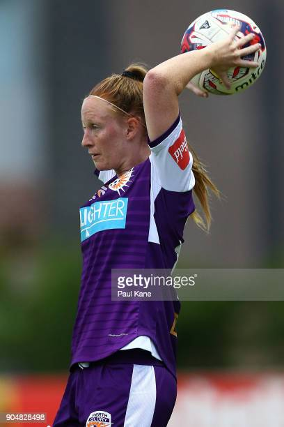 Shannon May of the Perth Glory prepares to throw the ball in during the round 11 WLeague match between the Perth Glory and Sydney FC at Dorrien...