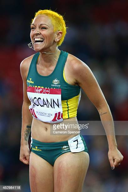 Shannon McCann of Australia reacts after competing in the Women's 100 metres hurdles heats at Hampden Park during day eight of the Glasgow 2014...