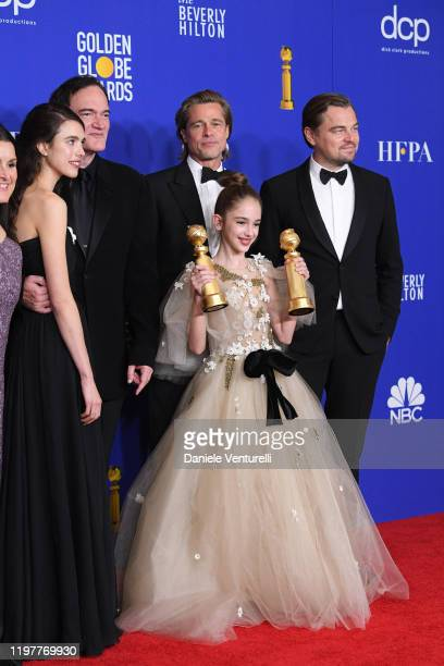 Shannon McIntosh Margaret Qualley Quentin Tarantino Brad Pitt Julia Butters and Leonardo DiCaprio poses in the press room during the 77th Annual...
