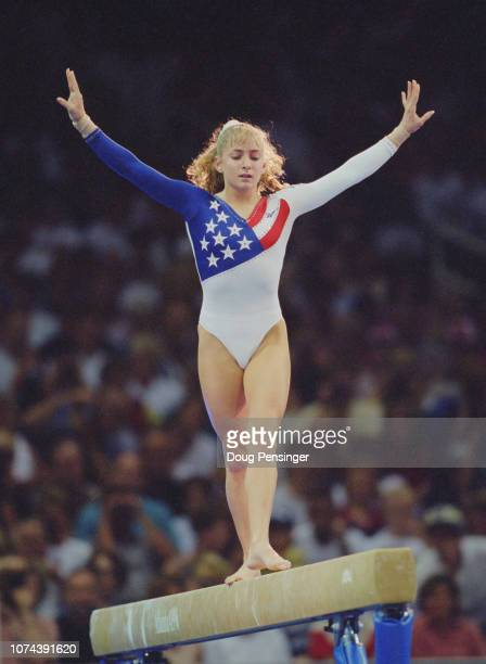 Shannon Miller of the United States competing in the Balance Beam event of the Women's Gymnastic exhibition during the XXVI Summer Olympic Games on...