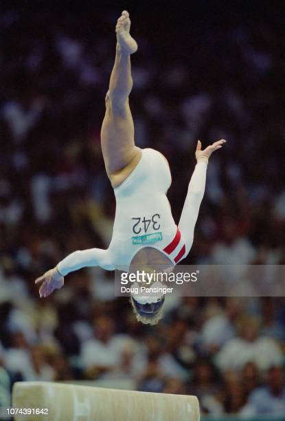 Shannon Miller of the United States competing in the Balance Beam event of the Women's artistic team allaround competition during the XXVI Summer...