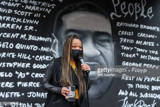 Shannon Morton speaks at a candlelight vigil for Andrew Brown, Ma'khia Bryant and Daunte Wright at The Laugh Factory on April 23, 2021 in West...