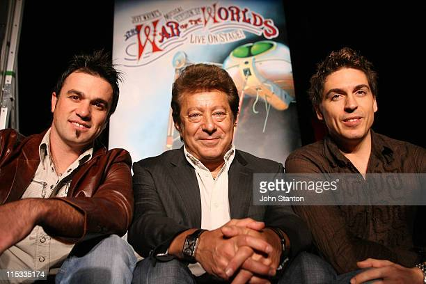 Shannon Noll Jeff Wayne and Michael Falzon during 'The War of the Worlds' Live on Stage Media Call at Space Venue in Sydney NSW Australia