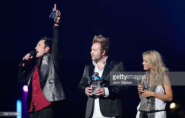Shannon Noll with Kyle and Jackie O during MTV Australia Video Music Awards 2006 Show at Superdome in Sydney Australia