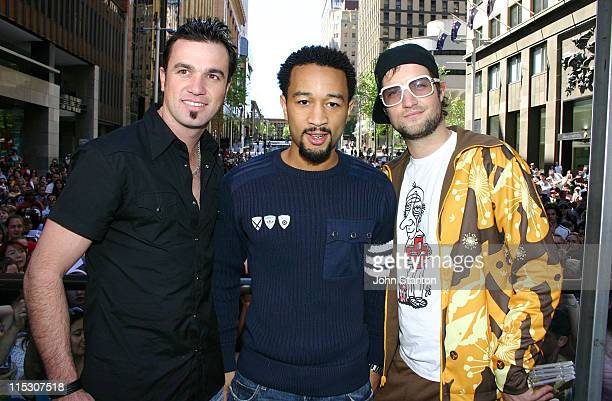 Shannon NollJohn Legend and Host Axle during The Black Eyed Peas and John Legend Visit VH1's Video Hits Live at Martin Place October 2 2005 in Sydney...