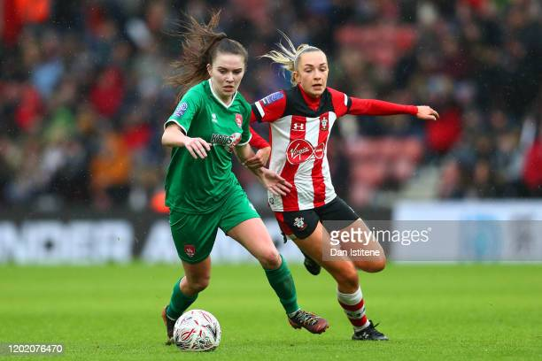 Shannon O'Brien of Coventry United battles for the ball with Phoebe Williams of Southampton during the Women's FA Cup fourth round match between...