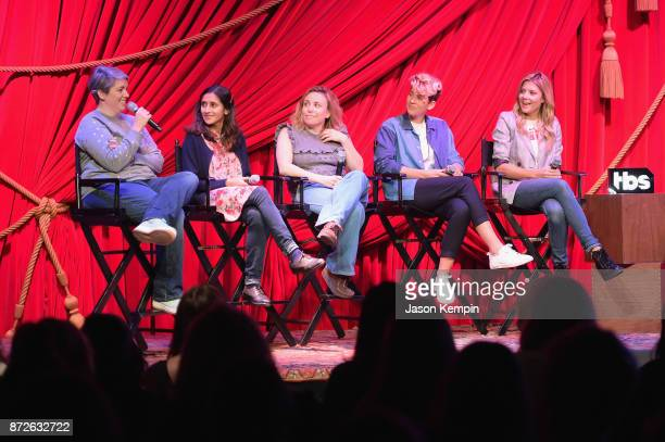 Shannon O'Neill Aparna Nancherla Alyson Levy Mia Lidofsky and Grace Helbig speak onstage during TBS Comedy Festival 2017 Refinery 29 Presents In...