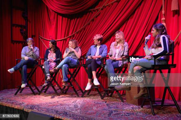 Shannon O'Neill Aparna Nancherla Alyson Levy Mia Lidofsky Grace Helbig and Ruby Karp speak onstage during TBS Comedy Festival 2017 Refinery 29...