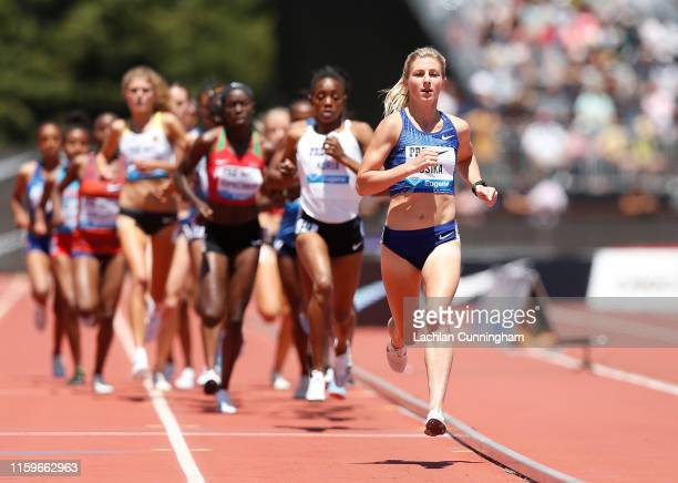 Shannon Osika of the United States runs in the women's 3000m during the Prefontaine Classic at Cobb Track & Angell Field on June 30, 2019 in...