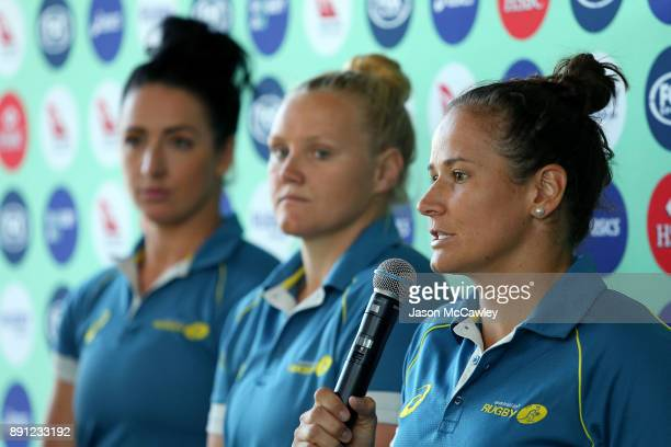 Shannon Parry of the Wallaroos speaks to the media during a Rugby Australia press conference at the Rugby Australia Building on December 13 2017 in...