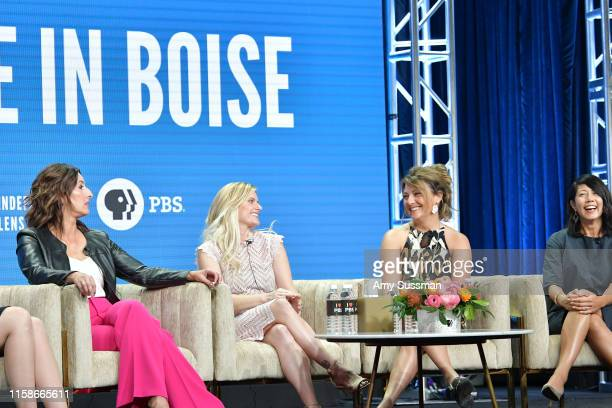 Shannon Rayner Nicole Williamson Cindy Floyd and Beth Aala of Made In Boise speak during the 2019 Summer TCA press tour at The Beverly Hilton Hotel...