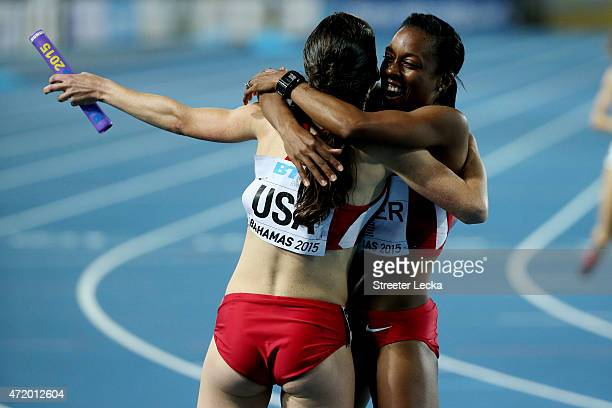 Shannon Rowberry and Treniere Moser of the United States celebrate after winning the final of the women's distance medley relay on day one of the...