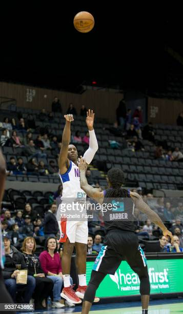Shannon Scott of the Long Island Neets shoots the ball against the Greensboro Swarm on March 18 2018 at NYCB Live Home of the Nassau Veterans...