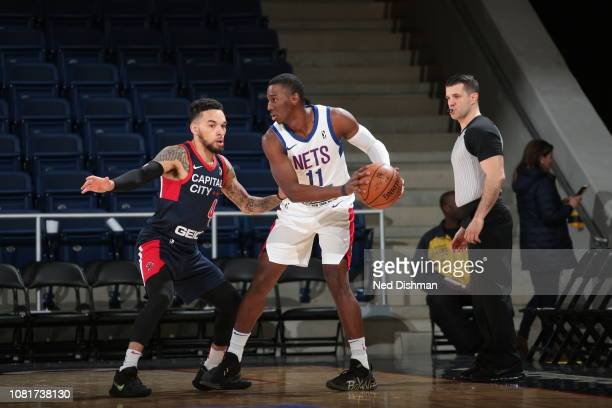 Shannon Scott of the Long Island Nets against Chris Chiozza of the Capital City GoGo during an NBA GLeague game at the Entertainment and Sports Arena...