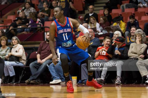 Shannon Scott of the Long Island Nets handles the ball against the Canton Charge on November 25 2017 at the Canton Memorial Civic Center in Canton...