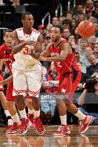 Shannon Scott of the Ohio State Buckeyes passes the ball against the Nebraska Cornhuskers on January 3 2012 at Value City Arena in Columbus Ohio