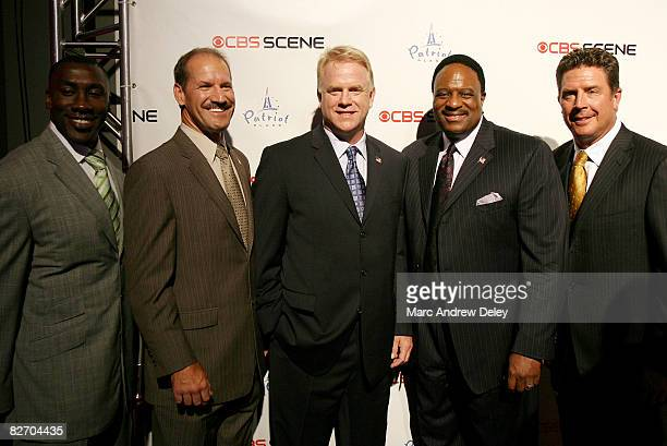 Shannon Sharpe Bill Cowher Boomer Esiason James Brown and Dan Marino attend the grand opening of the CBS Scene Restaurant Bar at Patriot Place on...