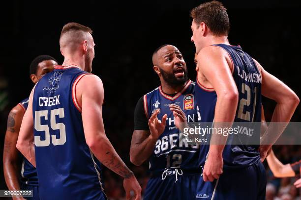 Shannon Shorter of the 36ers addresses the huddle during game one of the Semi Final series between the Adelaide 36ers and the Perth Wildcats at...