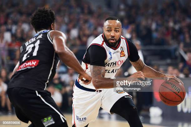 Shannon Shorter of the 36ers controls the ball during game three of the Grand Final series between Melbourne United and the Adelaide 36ers at Hisense...