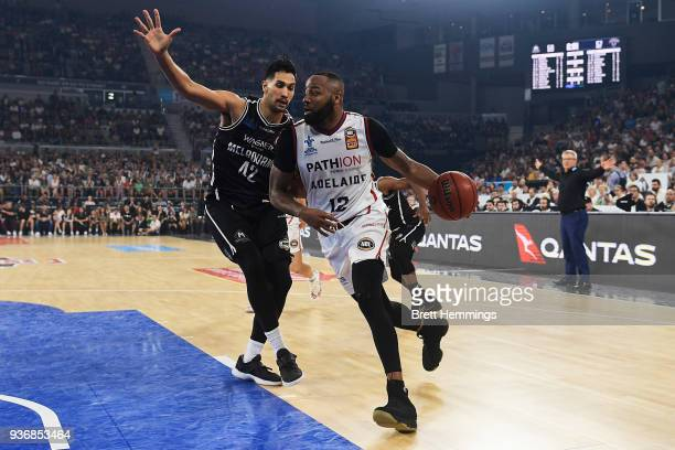 Shannon Shorter of the 36ers drives towards the basket during game three of the Grand Final series between Melbourne United and the Adelaide 36ers at...