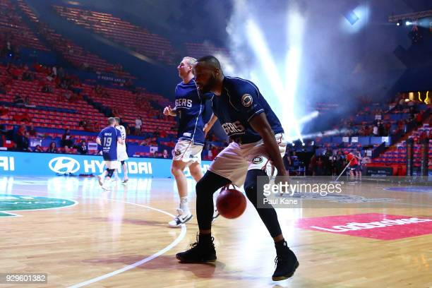 Shannon Shorter of the 36ers warms up before game two of the NBL Semi Final series between the Adelaide 36ers and the Perth Wildcats at Perth Arena...