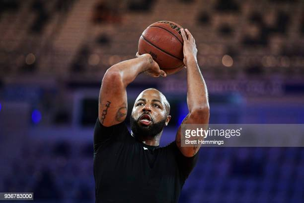 Shannon Shorter of the 36ers warms up prior to game three of the Grand Final series between Melbourne United and the Adelaide 36ers at Hisense Arena...