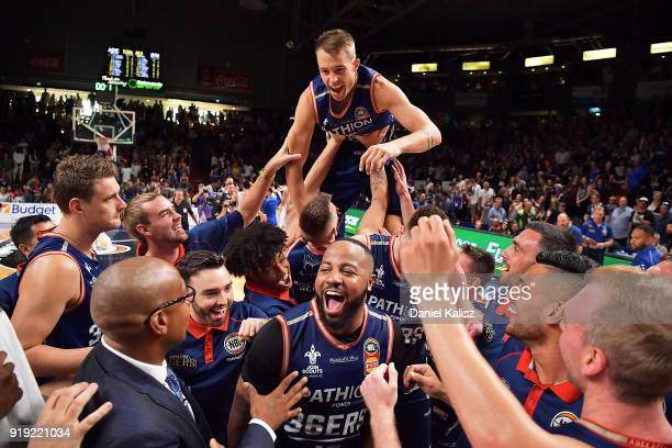 Shannon Shorter of the Adelaide 36ers and Nathan Sobey of the Adelaide 36ers celebrate during the round 19 NBL match between the Adelaide 36ers and...