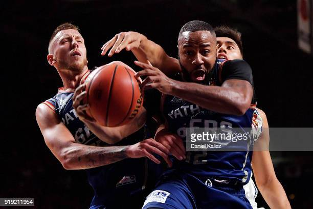 Shannon Shorter of the Adelaide 36ers competes for the ball during the round 19 NBL match between the Adelaide 36ers and the Brisbane Bullets at...