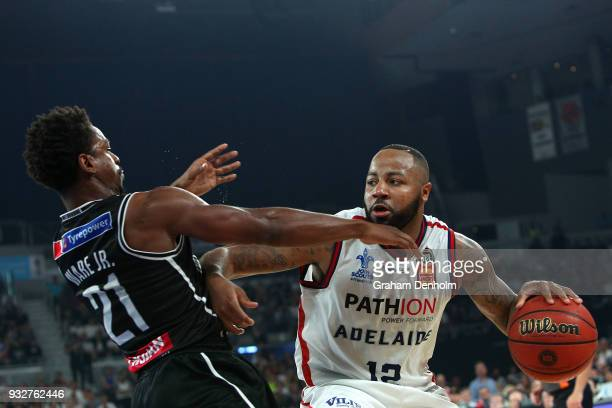 Shannon Shorter of the Adelaide 36ers drives at the basket during game one of the NBL Grand Final series between Melbourne United and the Adelaide...