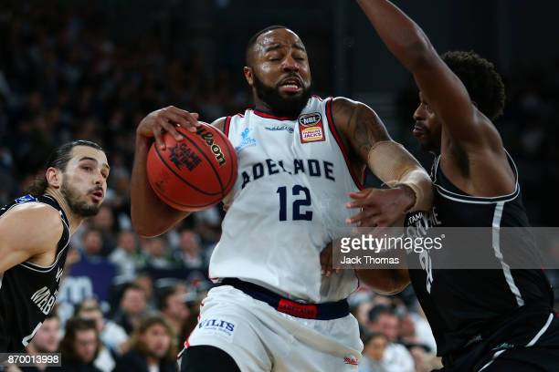 Shannon Shorter of the Adelaide 36ers drives to the basket during the round five NBL match between Melbourne United and the Adelaide 36ers at Hisense...