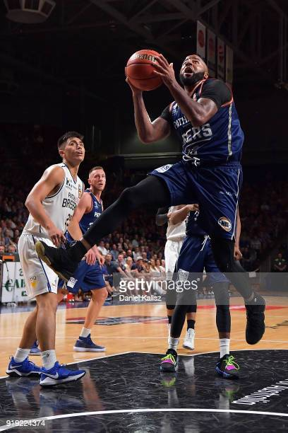 Shannon Shorter of the Adelaide 36ers drives to the basket during the round 19 NBL match between the Adelaide 36ers and the Brisbane Bullets at...