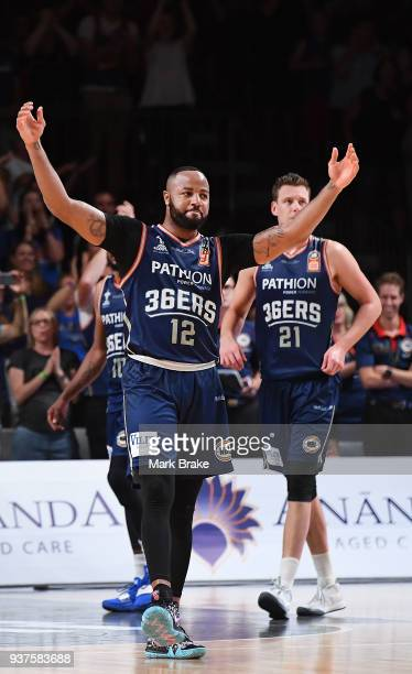 Shannon Shorter of the Adelaide 36ers fires up the crowd as the clock ticks down during game four of the NBL Grand Final series between the Adelaide...