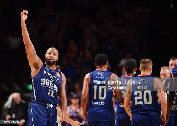 Shannon Shorter of the Adelaide 36ers reacts during game two of the NBL Grand Final series between the Adelaide 36ers and Melbourne United at...