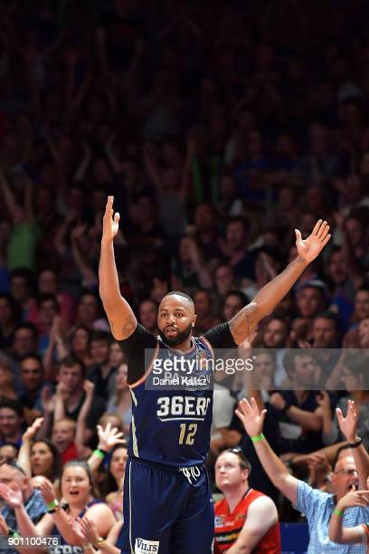 Shannon Shorter of the Adelaide 36ers reacts to the crowd during the round 13 NBL match between the Adelaide 36ers and the Perth Wildcats at Titanium...