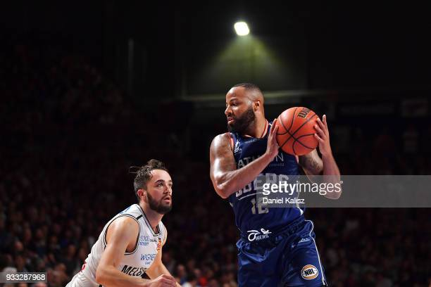 Shannon Shorter of the Adelaide 36ers rebounds during game two of the NBL Grand Final series between the Adelaide 36ers and Melbourne United at...