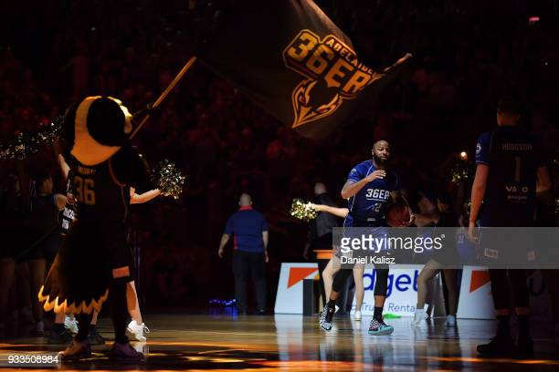 Shannon Shorter of the Adelaide 36ers runs onto the court prior to game two of the NBL Grand Final series between the Adelaide 36ers and Melbourne...