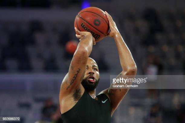 Shannon Shorter of the Adelaide 36ers warms up prior to game one of the NBL Grand Final series between Melbourne United and the Adelaide 36ers at...
