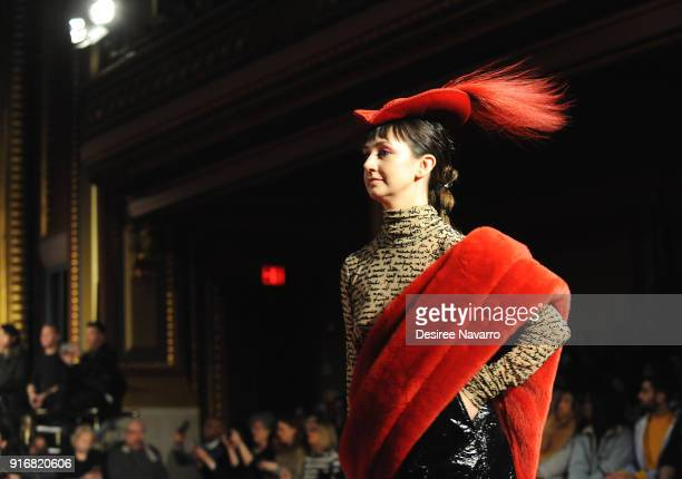 Shannon Siriano walks the runway for the Christian Siriano fashion show during New York Fashion Week at the Grand Lodge on February 10 2018 in New...